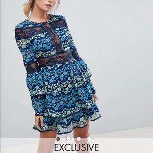 ASOS Embroidered Contrast Lace Dress